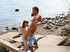 Redhead foxy real outdoor hook-up paid by guys