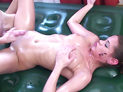 Lil' Quirk gives thai rubdown and gets fountain of jism on her ideal blondie