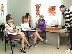 Memorable CFNM anatomy class with 5 cock-starved schoolgirls