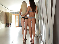 Hungarian hotty Alexis Brill is still waking up after a morning of lust when Monique Forest lets her know that she's still interested in another round. Despite the early hour, Alexis is undoubtedly antsy to react to Monique's advances. When Monique beckons Alexis back towards the living room, the brown-haired is glad to slurp her lover's lead.Settling down together on the couch, Alexis and Monique swap a lusty kiss. Monique is prompt to pull away so that she can peel off Alexis's hooter-sling and play with her girlfriend's puny tits and rock stiff nipples.