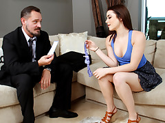 Mischievous looking luxurious youthful baby sitter woman Kylie Quinn has her juicy lil' vagina bitchy by her employers former boyfriend colossal hard-on after doing her babysitting job.
