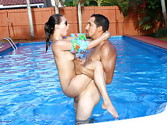 Little youthful engaging woman Carolina Sweets gets her taut puny poontang pounded by a world class swim trainer after doing some brief lessons.