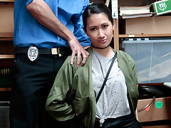 Slurps teenager shoplifter girl Jade Noir blow and pounds the thick wild shaft of an LP officer in interchange of setting her free after stealing some merchandise at a local store.