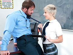 Timid adorable brief haired ash-blonde schoolgirl Makenna Blue gets plumbed by the king sized mean hard-on of their campus guidance counselor.