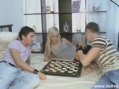 2 dudes were toying checkers. They made a wager that if one of them would win, another one will sell his girlfriend to the winner. As u can guess, the favourable bastard won the game and hurried to take his prize. He ripped up a super-sexy hotty in many ways and even in a shower before paying for her.