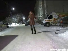 It's so cold and snowy outside, but it's wet, and super molten of this chick's pussy. A prolapsing that accidently runs into right on the street doesn't wanna play snowballs. He craves his to slap against this slut's backside and genitals as he tears up her from every angle making her cum rock firm and loud. Her hair and make-up acquire all messed up and her boyfriend's gonna be jealous, but that doesn't care cuz this large palpitating wang makes her feel so pummeling good!
