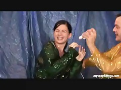 A pair of days agone Sharon and Maxima found out a bottle of baby lube in the studio and what we predicted did indeed happen: Others wished to try it too! So here's Jeanine attire the slimy stuf and adding something new: Plastic raincoats...