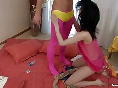 Yes, even I would wear the ridiculous crap Ivan has to wear in this in order to get a immovable eighteen age teenager ultra-cutie like Anyutka to devour cock. She??s enough that putting on stockings may be but well worth it to get that pussy. That ultra-cutie showcases her appreciation by all over that dick, inhaling it like that ultra-cutie is starving in advance of he screws that  pussy. That chap penetrates away until his weenie barfs cum right betwixt her miniscule boobs.