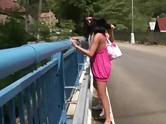 Meet 2 very daring girls: Angelica and Klaris found it a real kick to masterfully their bazookas and their g-spots off on top of a nice-looking busy bridge. U should have seen the looks they got from some drivers. But when things got serious they found a quieter spot...