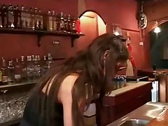 A guys is sitting at a bar. That man is barely buzzed and tries to have it off with the bar maid but this babe isnt interested in him. Instead this babe goes up to an mature fella who is at the other end of the bar. This babe bears her love bubbles for him one by one and then gives him a fellate job in advance of that man indeed boinks the beauty on top of the bar.