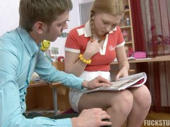 This youthful babe has a mischievous future! That babe has reach parents that think about her future life and hired a tutor for her, in order to help Laura with her future exams. But Laura is a very inactive teenager bitch, and she'd rather splay her stellar legs to get her taut pussy fucked, than learn boring English grammar.