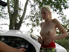 Skinny light-haired fledgling gushes her naked assets for cash
